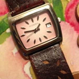 FOSSIL Pink-Faced Watch with original leather band